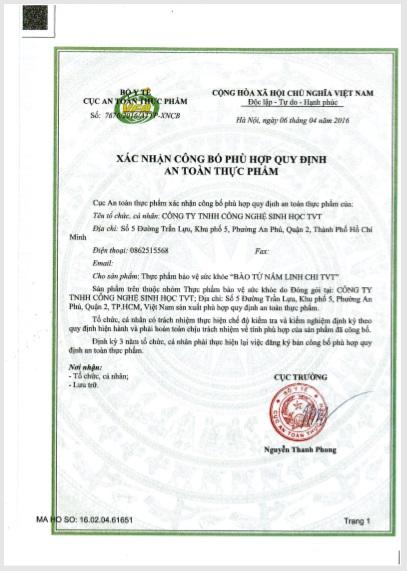 XNCB ATTP Bào Tử Linh Chi