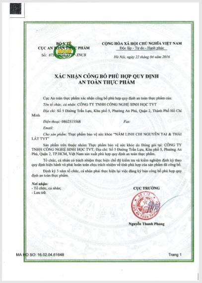 XNCB ATTP Linh Chi