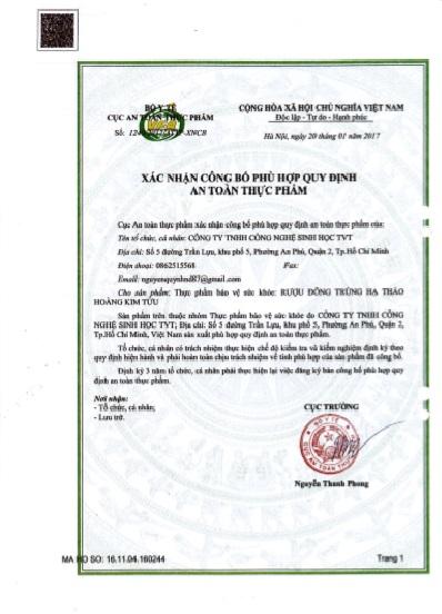 XNCB ATTP Hoàng Kim Tửu